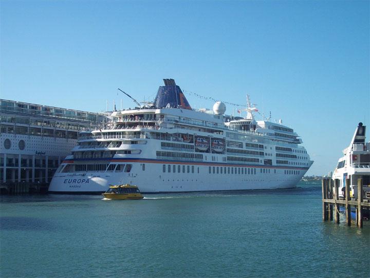 Passenger vessel Europa in Auckland Harbour
