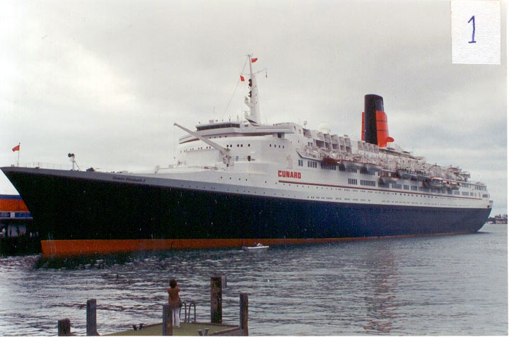 Cunards QE2 tied up at Auckland, New Zealand.