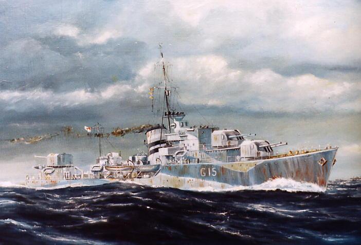 Painting of Greenock built destroyer HMS Loyal