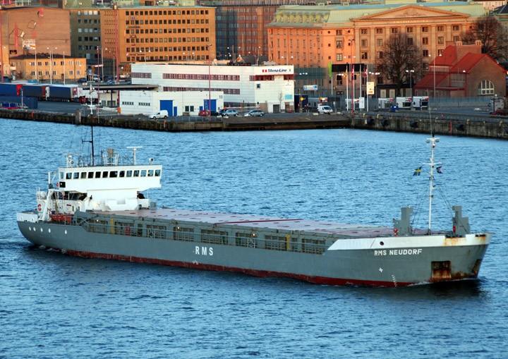 RMS Neudorf at dusk in Gothenburg