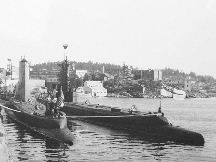 Subs USS Bugara and HMCS Grilse, Esquimalt