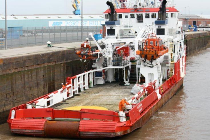 VOS SUPPLIER moored in lock