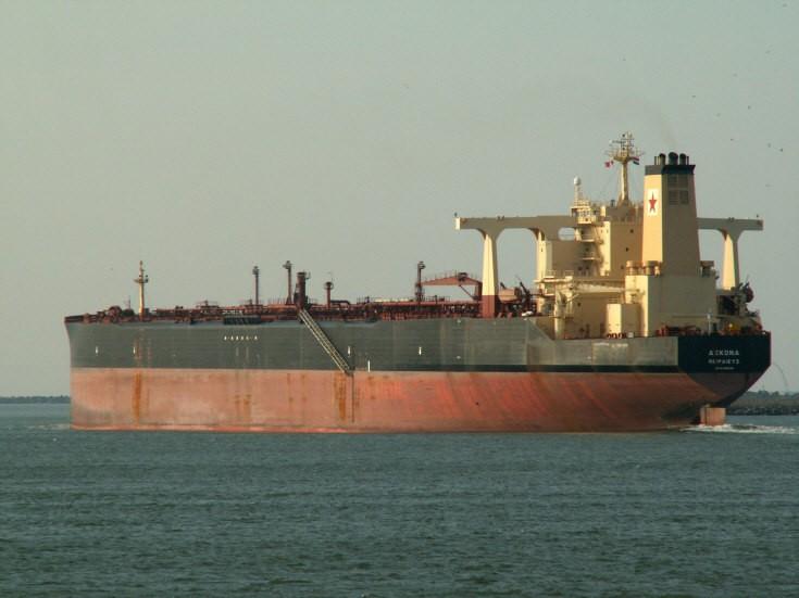 Tanker Ascona leaving Rotterdam