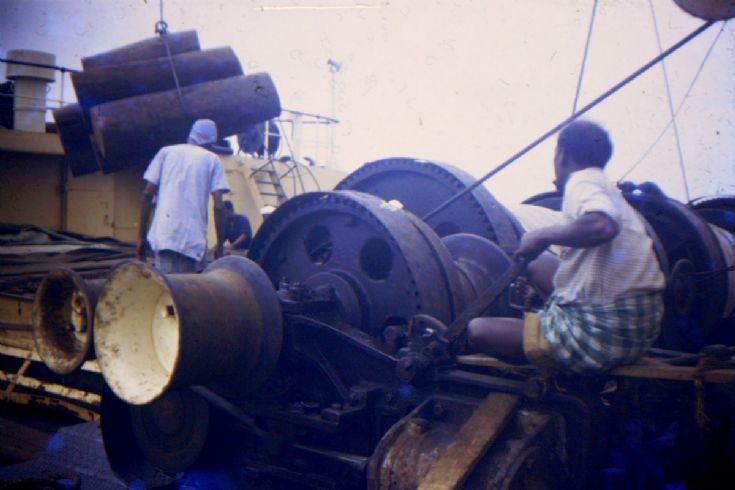 British cargo ship 'Chupra' loading cargo.
