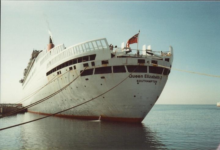 Cunard's QE2 1982 in Malaga Spain
