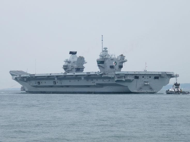 HMS Queen Elizabeth Departs Portsmouth Harbour