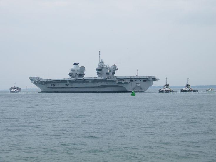 HMS Queen Elizabeth Departs Portsmouth Harbour