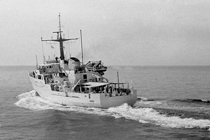 HMS Beagle, pennant no. H319, in the Gulf, 1969