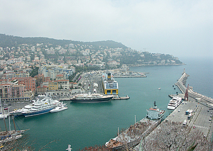 Ferry and cargo ships in Nice harbour