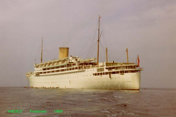 Passenger ship Andes at Freetown in 1968