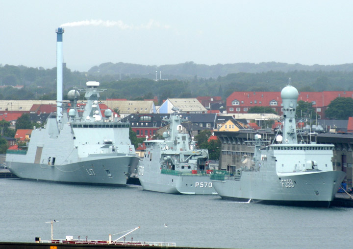 Danish Navy ships L17, P570 and F358