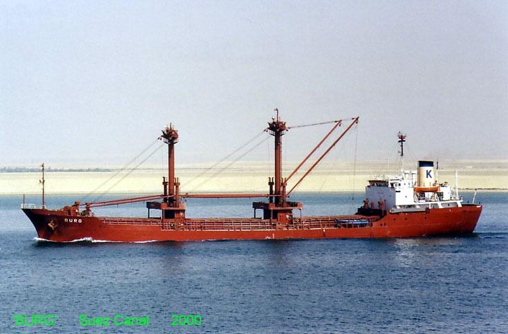 Cargo ship Burg passing through Suez Canal 2000