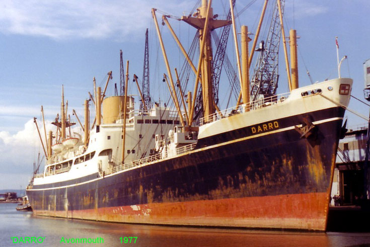 Cargo ship Darro berthed in Avonmouth 1977