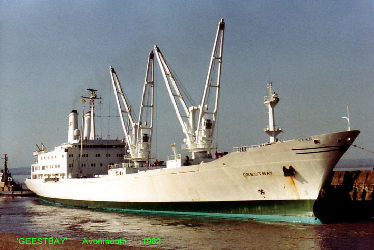 Cargo ship Geestbay quayside in Avonmouth 1982