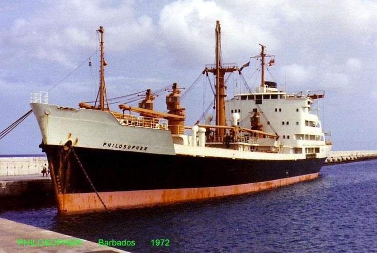 Cargo ship Philosopher quayside Barbados 1972
