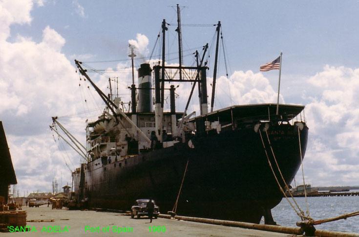 Cargo ship Santa Adela in Port of Spain 1969