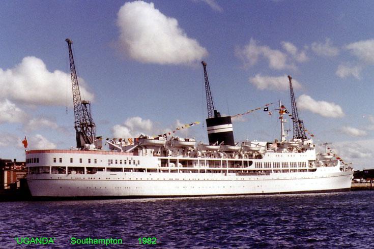 Passenger ship Uganda in Southampton 1982