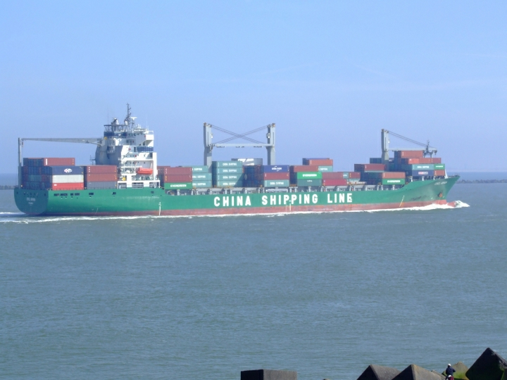 Container ship CSCL Genoa at Rotterdam