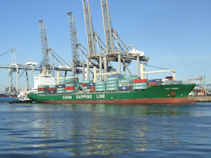 CSCL Xiamen moored in port of Rotterdam