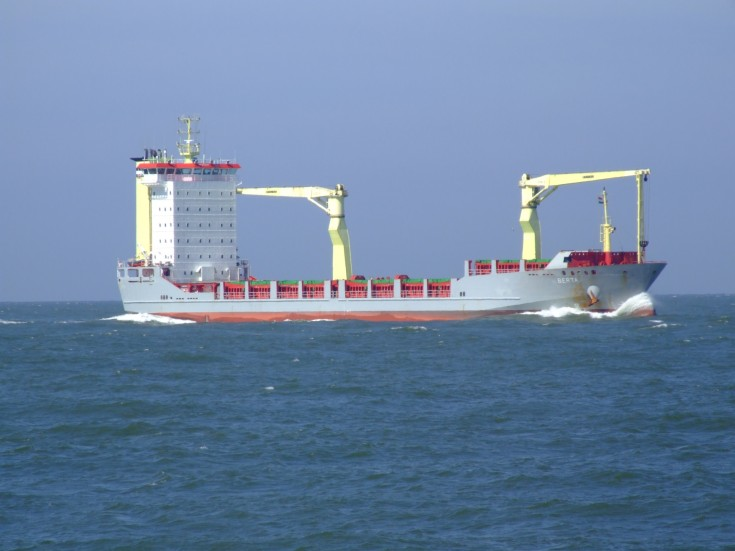 Container ship Berta approaching Rotterdam