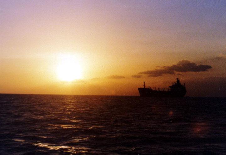 Ship in lovely sunset