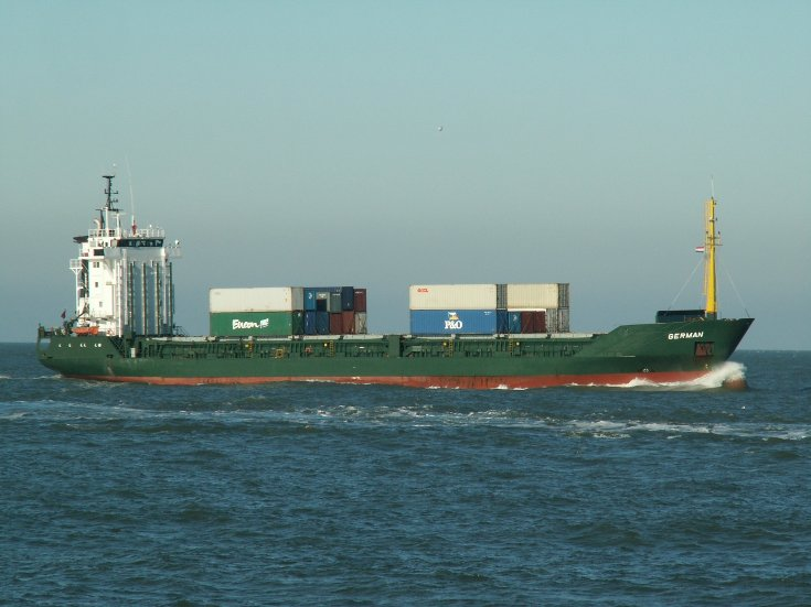 Cargo ship German approaching Rotterdam